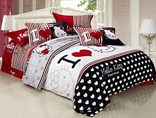 ** I Love Hello Kitty Queen Bed Quilt Cover Set - Flat or Fitted Sheet **