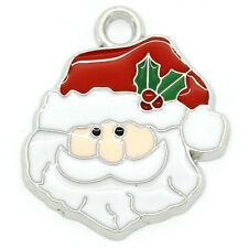 Wholesale lots Charm Pendants Enamel Father Christmas Silver Tone 24mmx21mm
