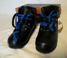 BOYS~GIRLS~KIDS~YOUTH~BLACK ANKLE SCHOOL PLAY HIKING BOOTS SHOES~TIE UP+ZIPPER