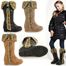 GIRLS KIDS CHILDRENS KNEE HIGH HEEL FUR LINED WINTER BOOTS GRIP SOLE WEDGE SHOES
