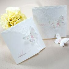 Classic White Colorful Butterfly Wedding Invitations Cards with Envelopes, Seals