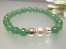 Vintage nature untreated Aventurine, Pearl,Crystal,Silver bead stretchy Bracelet