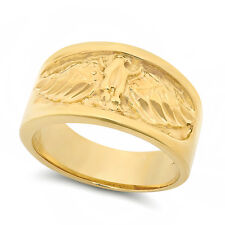 Men's Classic Large Genuine Heavy Yellow 14K Gold Layered American Eagle Ring