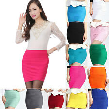 Women Sexy High Waist Pleated Mini Bandage Hip Wrap Skirt Skinny Short Dress