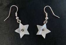 GORGEOUS MOTHER OF PEARL GEMSTONE AND BEAD DROP / DANGLE EARRINGS STAR OR HEART