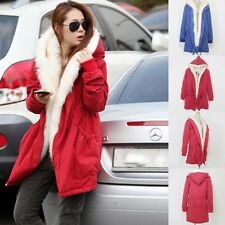 Stylish New Womens Fleece Warm Faux Fur Winter Overcoat Jacket Coat Hooded Parka