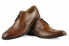 Mens Real Leather Brown Lace up Vintage Brogue Italian Style Formal Office Shoes