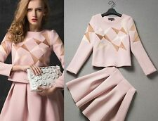 2014 Autumn fashion style cute new piece fitted long-sleeved dress stitching