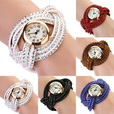 Women Cool Design Rhinestone Weave Wrap Multilayer Leather Bracelet Wrist Watch