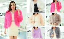 Lady's New Real Ostrich Feather Fur Turkey Fur Short Tops Coats Jackets 6 Colors