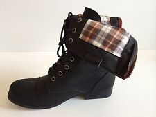 New Fashion Womens Fold Over Plaid ankle boots faux leather lace up zipper