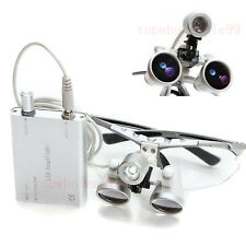 2018+Dental Surgical Binocular Loupes 2.5X 420mm / LED Head Light Lamp / Battery
