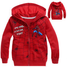 New Arrival Spider-Man Clothes 2Y-8Y Kids Boys Girls Hoodies Jacket Coat Outwear