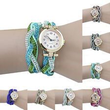 Women Vivid Crystal Band Knitted Bracelet Dial Quartz Analog Wrap Wrist Watch