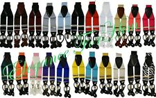 Men's Convertible Suspenders Y Shape Braces Solid Suspenders Clips & Buttons