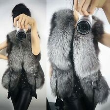 New Sexy Design Vest Female Fox Fur Outerwear Short Leather Women Coat Outwear