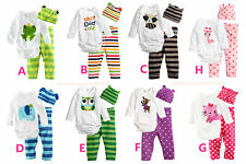 8 Animal Newborn Baby Girl Boy Romper Hat+Body+Pant bodysuit clothes Outfit sets