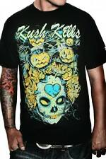 Men's Kush Kills Pumpkin Bats Tee Day of the Dead Sugar Skull Tattoo Art Roses