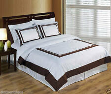Wrinkle Free Egyptian Cotton Hotel White/Brown Duvet Cover Bedding Set 300TC