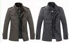 2014 Hot sell Fashion Mens wool long jacket coat trench overcoat parka Outerwear