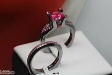 Black Rhodium Solid Sterling Silver Pink Sapphire Engagement & Wedding Ring Set