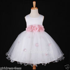 WHITE/BABY PINK PRINCESS FAIRY FLOWER GIRL DRESS 6M-12M 18M 2/2T 4/4T 5/6 7/8 10