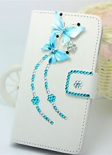 3D Diamond Butterfly Wallet Card Holder PU Leather Flip Case Cover for LG phones