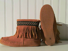 Leather moccasin Mukluk with rubber sole is hand stitched