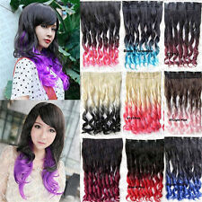 Fashion Womens Ombre Synthetic Single Piece Five Clips Long Wave Hair Extension