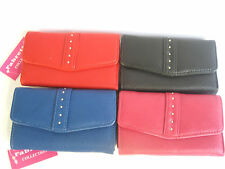 LADIES PINK, BLACK, BLUE OR RED CARD HOLDER AND COIN PURSE - FABRETTI -33523