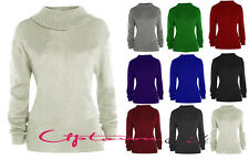 NEW WOMENS LADIES LONG SLEEVE KNITTED TURTLE NECK POLO JUMPERS SWEATER TOP 8-16