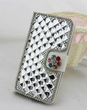 Bling Diamond Crystal PU Leather Flip Cover Credit Card Wallet Case for Sony
