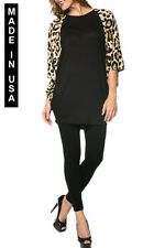 WOMEN CONTRAST PRINT TUNICS WITH BUTTERFLY SLEEVES - MADE IN USA (MORE SHADES)