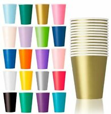 14 PAPER PARTY CUPS 9oz MULTI LISTING MANY COLOURS TO CHOOSE
