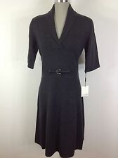 Calvin Klein NEW Charcoal Gray  Sweater dress 3/4 Sleeves, waist ornament