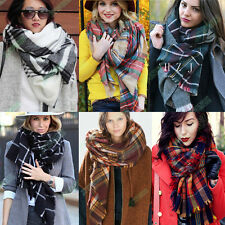 Women Blanket Oversized Tartan Scarf Wrap Shawl Plaid Cozy Checked Pashmina NEW