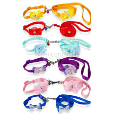 Nylon Cat Dog Puppy Collars and Leads Set Cute Bowknot with Bell for Small Dogs