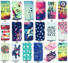 Cute Painted Hybrid Leather Wallet Card Stand Flip Cover Case For Samsung Galaxy