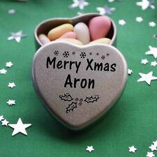 Merry Xmas Aron Mini Heart Tin Gift Present Happy Christmas Stocking Filler