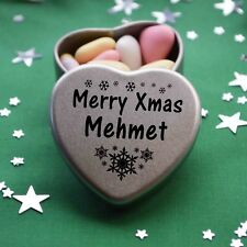 Merry Xmas Mehmet Mini Heart Tin Gift Present Happy Christmas Stocking Filler