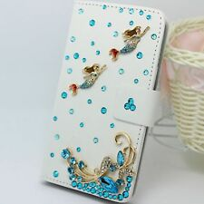 3D Bling Crystal Mermaid PU Leather Flip Cover Credit Card Wallet Case For Sony