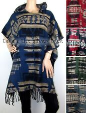 5Colour MEXICAN PONCHO Hippy FESTIVAL Ethnic HOODED Bathrobe BAJA Clint Eastwood