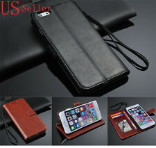 For Apple iPhone 6 Plus Leather Wallet Card Slot Case Stand Cover Wristlet