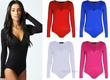 New Ladies Women Long Sleeve Wrap Front Stretch Bodysuit Leotard Top Size 8-24
