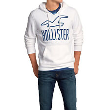 Hollister Mens Classic Large Logo Pullover Jumper Top Hoodie - White