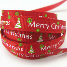Free shipping 5 Yards 3/8''10mm Merry Christmas Tree Grosgrain Ribbon