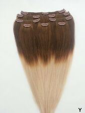 7pcs Clip In 100% HUMAN HAIR Ombre Hair Extensions #T4/18 DARK BROWN