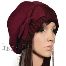 womens 100 % Wool beret beanie hat French knit bow warm lovely chic cap