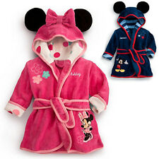 Boys Girls Mickey Mouse Hooded Bath Robe Dressing Gown with Ears 1-6 yrs NEW