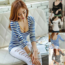 New Women Lady Casual Long Sleeve U Neck Solid Slim Fit Blouse T-shirt Tops